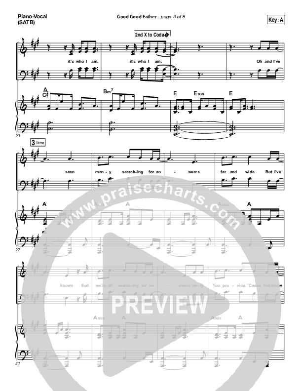 Good Good Father Piano/Vocal (SATB) (Chris Tomlin)