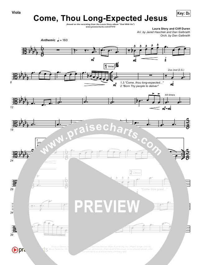 Come Thou Long Expected Jesus Orchestration Laura Story Praisecharts