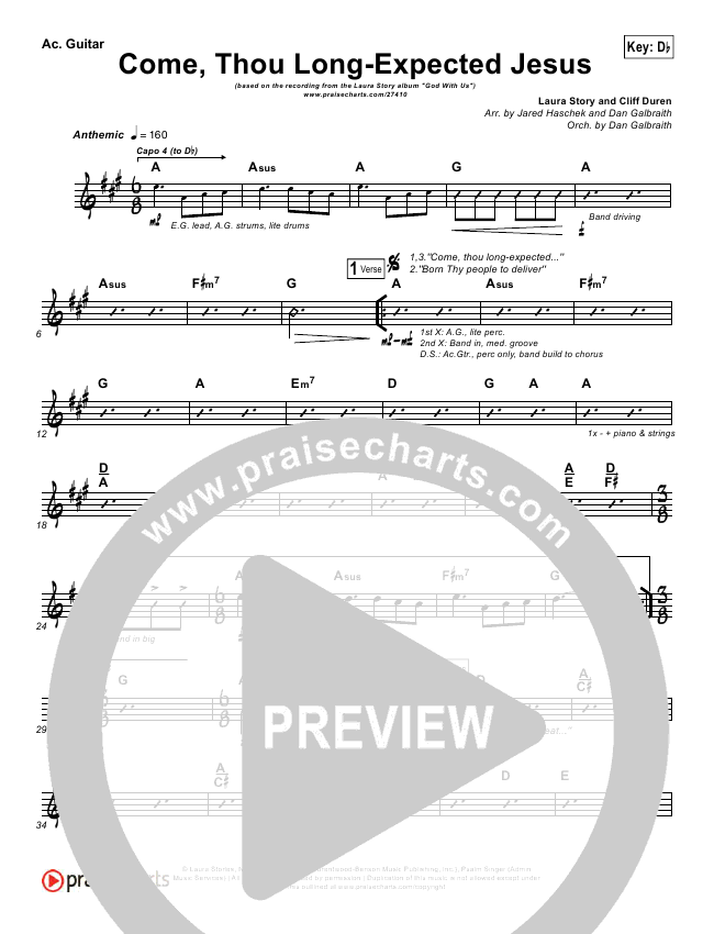Come Thou Long Expected Jesus Rhythm Chart Laura Story Praisecharts