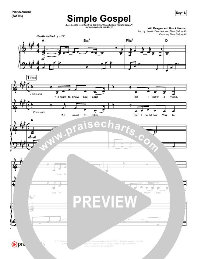 Simple Gospel Piano/Vocal (SATB) (United Pursuit)
