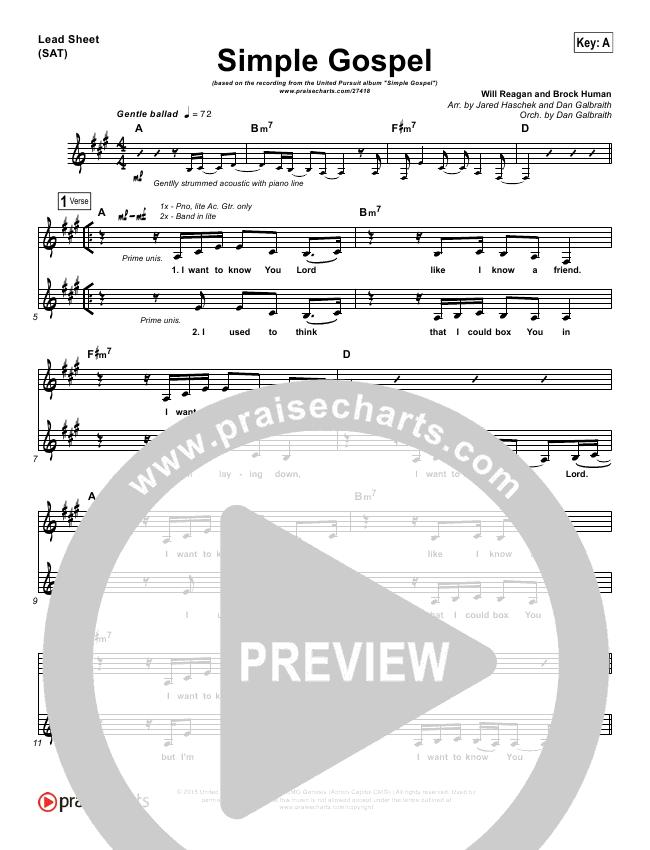 Simple Gospel Lead Sheet & Piano/Vocal - United Pursuit | PraiseCharts