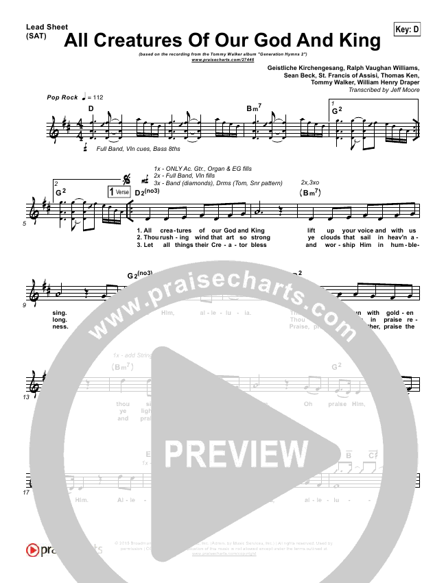 All Creatures Of Our God And King Lead Sheet (Tommy Walker)