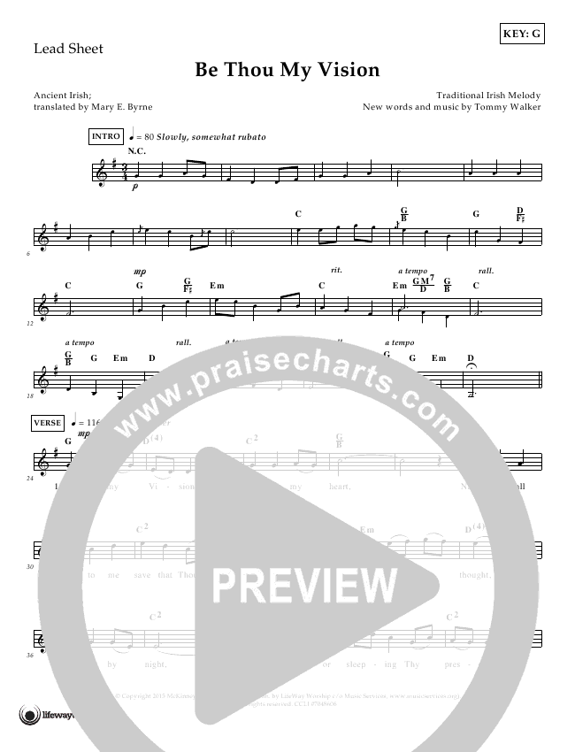 Be Thou My Vision Lead Sheet (Tommy Walker)