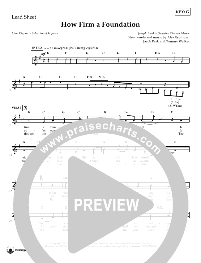 How Firm A Foundation Lead Sheet (Tommy Walker)