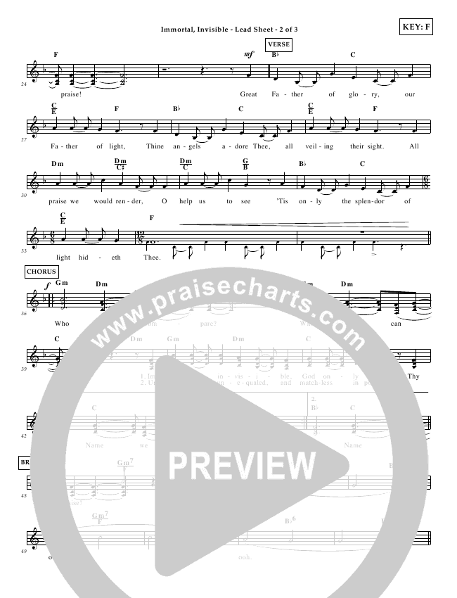 Immortal Invisible Lead Sheet (Tommy Walker)