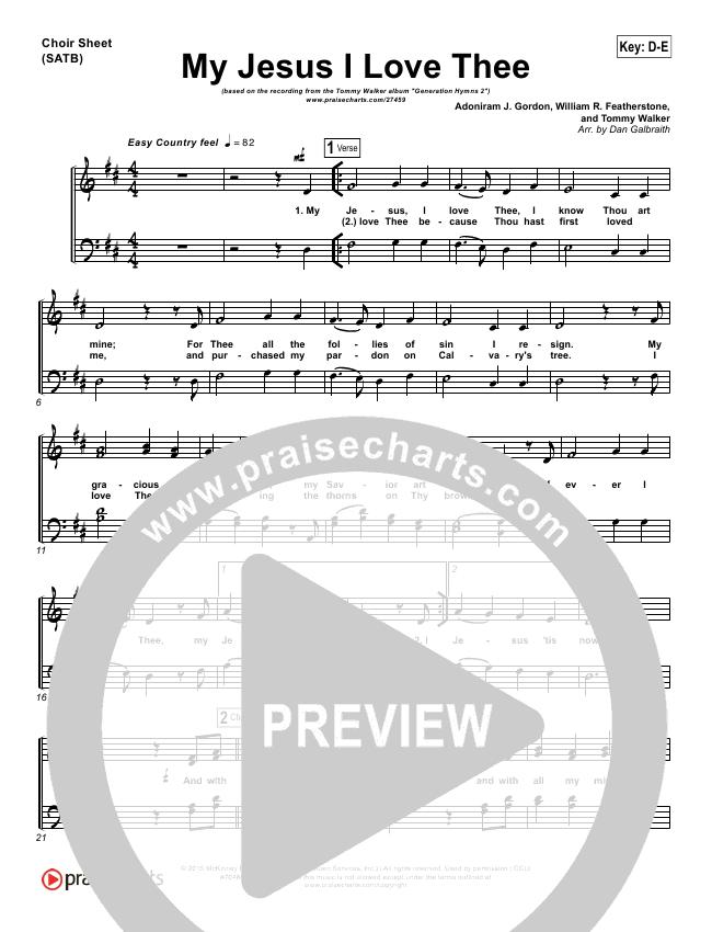 My Jesus I Love Thee Choir Sheet (SATB) (Tommy Walker)