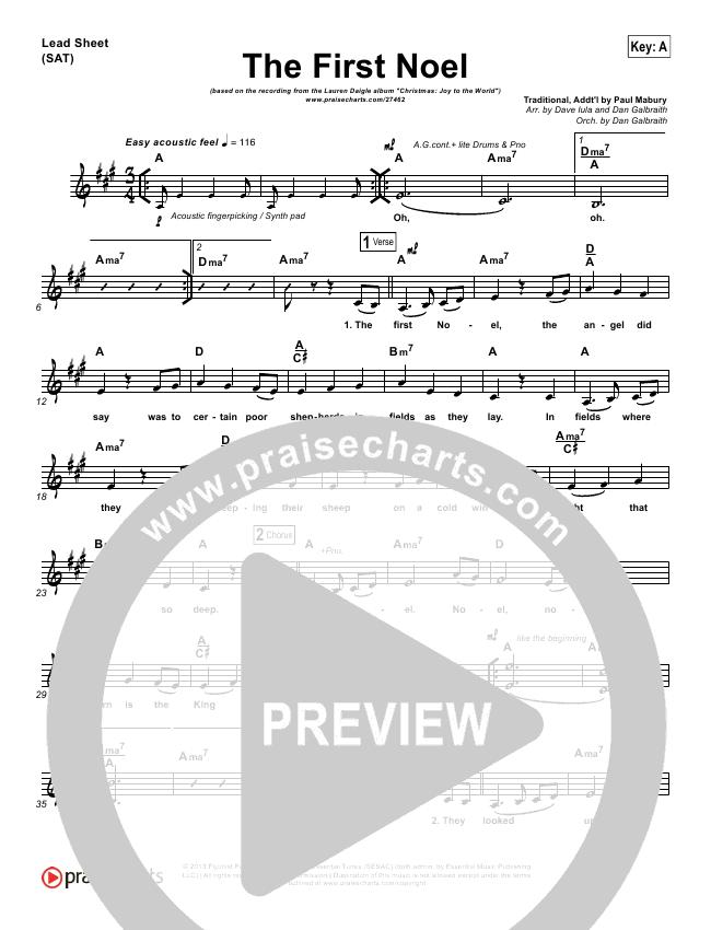 The First Noel Lead Sheet Pianovocal Lauren Daigle Praisecharts