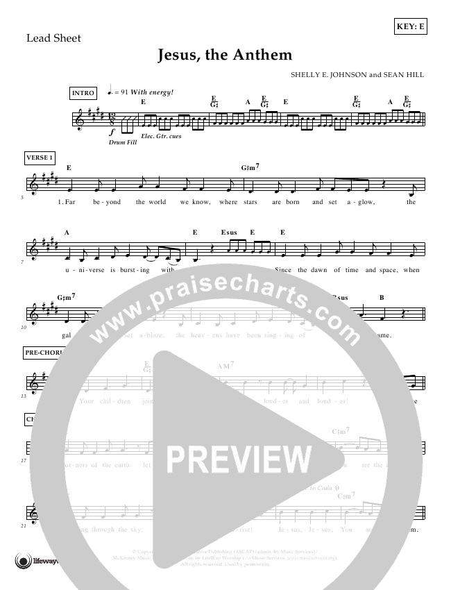 Jesus The Anthem Lead Sheet (Shelly E. Johnson)