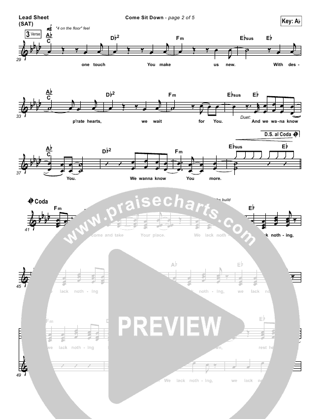 Come Sit Down Lead Sheet (Big Daddy Weave)