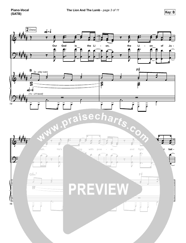 Lion And The Lamb Piano/Vocal (SATB) (Big Daddy Weave)