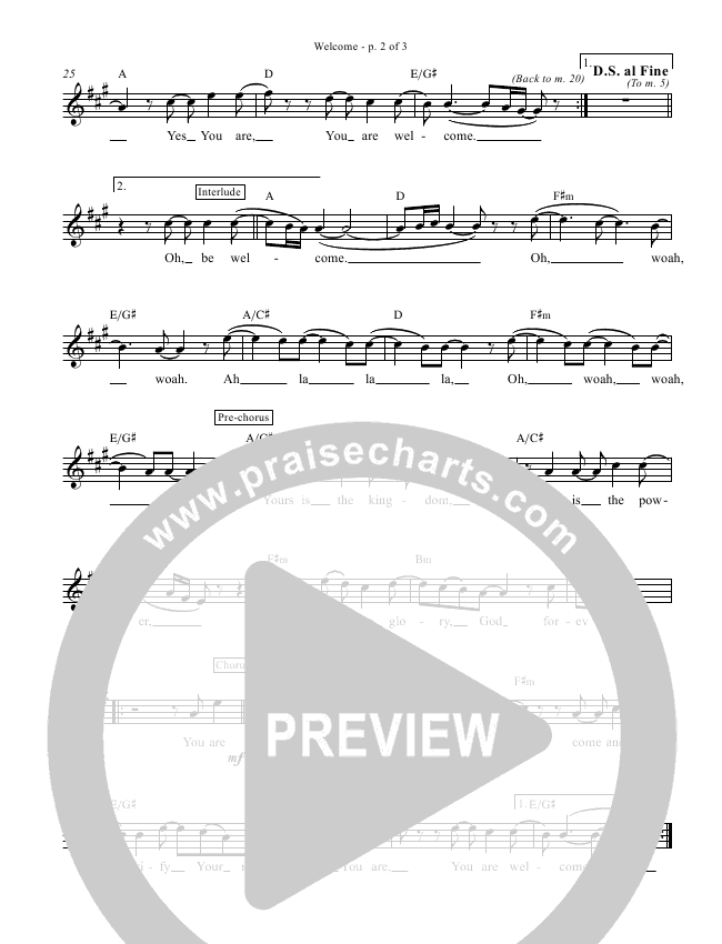 Welcome Lead Sheet (Big Daddy Weave)