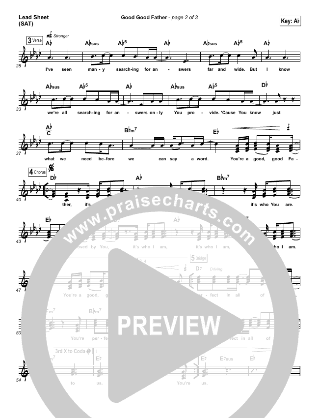 Good Good Father Lead Sheet (SAT) (Casting Crowns)