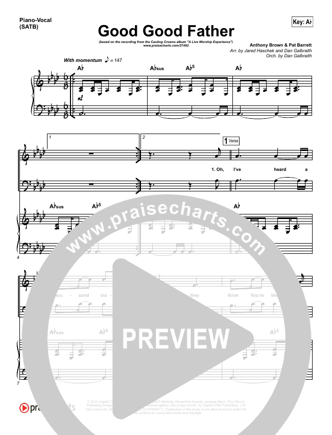 Good Good Father Piano/Vocal (SATB) (Casting Crowns)