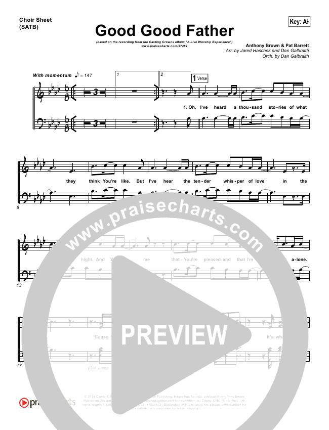 Good Good Father Choir Sheet (SATB) (Casting Crowns)