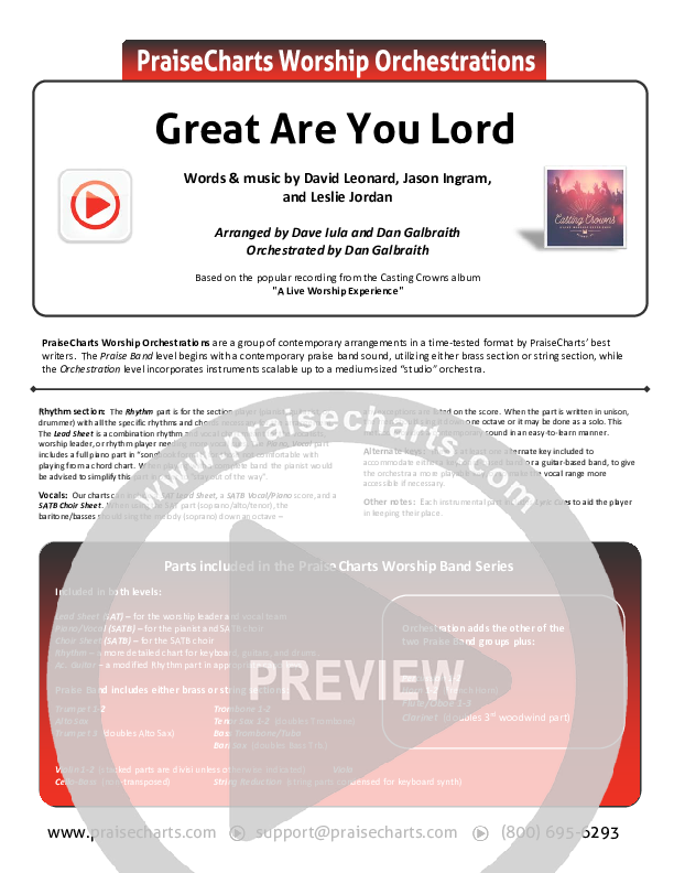 Great Are You Lord Orchestration (Casting Crowns)