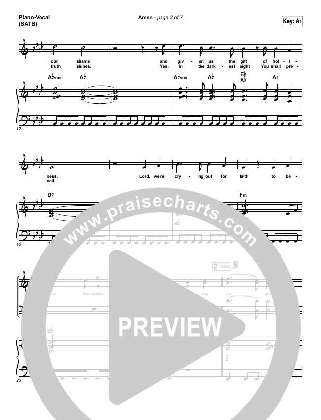 Amen Piano/Vocal (SATB) (Steven Curtis Chapman)