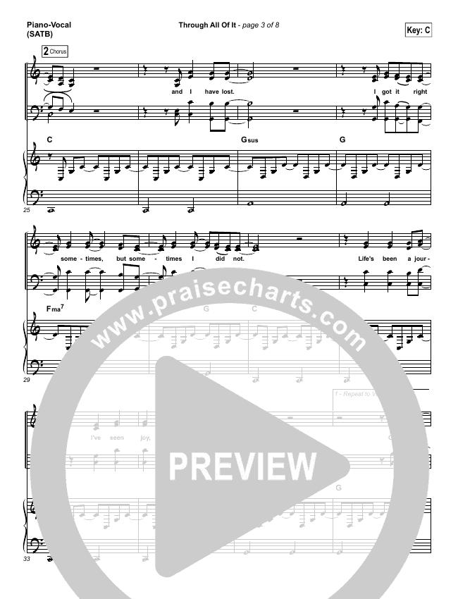 Through All Of It Piano/Vocal (SATB) (Colton Dixon)