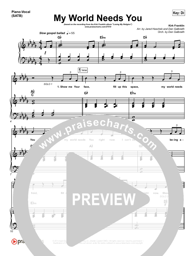 My World Needs You Piano/Vocal (SATB) (Kirk Franklin)