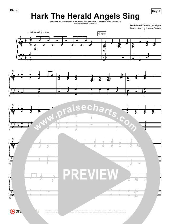 Hark The Herald Angels Sing (Instrumental) Piano Solo (Dennis Jernigan)