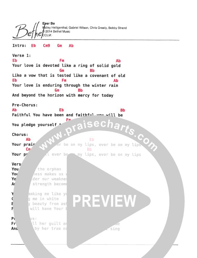 Ever Be Chord Chart (Bethel Kids)