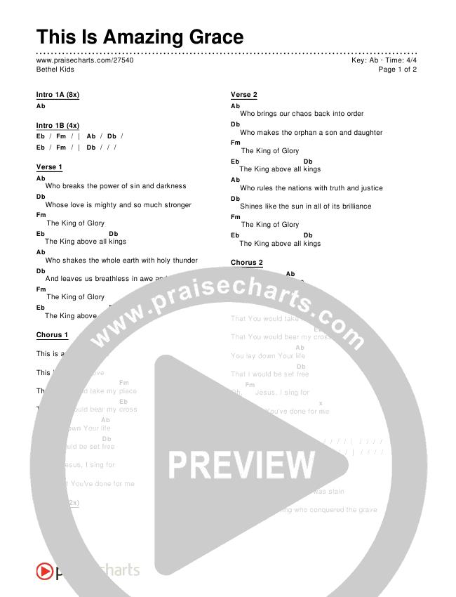 This Is Amazing Grace Chords & Lyrics (Bethel Kids)