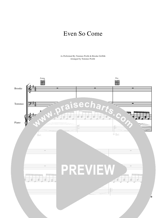 Even So Come Lead & Piano/Vocal (Tommee Profitt & Brooke Griffith)