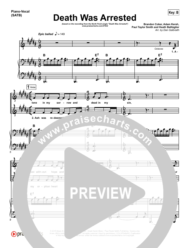 Death Was Arrested Piano/Vocal (SATB) (North Point Worship)