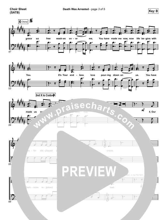 Death Was Arrested Choir Sheet (SATB) (North Point Worship)