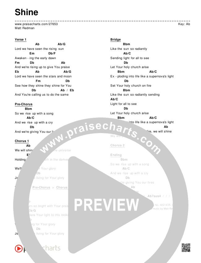 Shine Chords & Lyrics (Matt Redman)