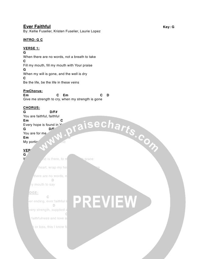 Ever Faithful Chord Chart (Kellie & Kristen)