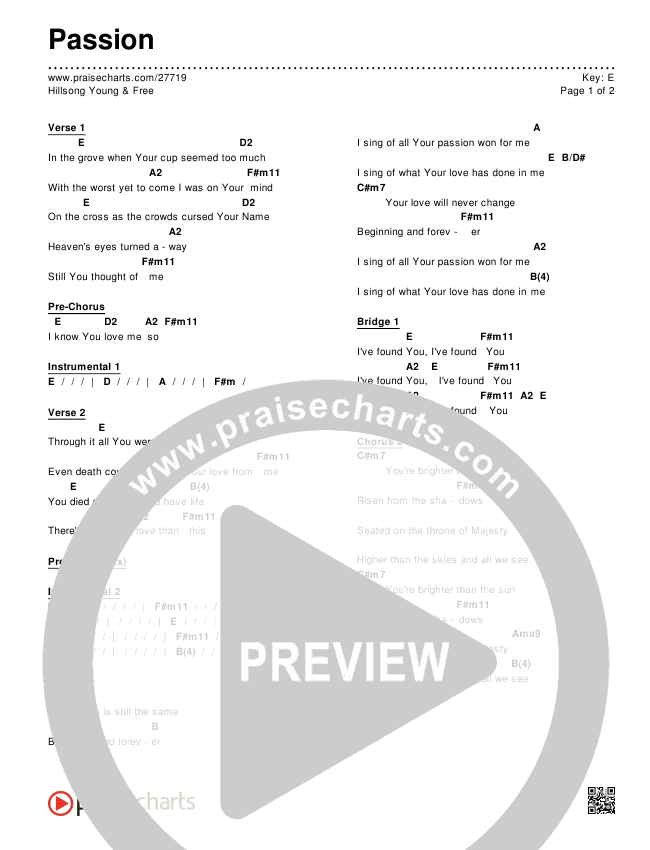 Passion Chords Hillsong Young Free Praisecharts