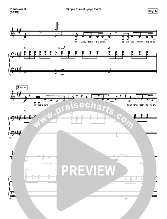 Simple Pursuit Piano/Vocal (SATB) (Melodie Malone / Passion)