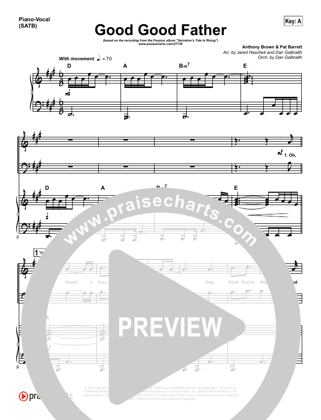 Good Good Father Piano/Vocal (SATB) (Kristian Stanfill / Passion)