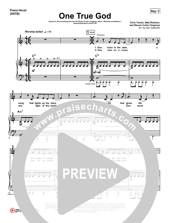 One True God Piano/Vocal (SATB) (Steven Curtis Chapman / Chris Tomlin)