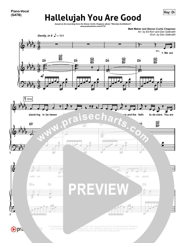 Hallelujah You Are Good Piano/Vocal (SATB) (Steven Curtis Chapman / Matt Maher)