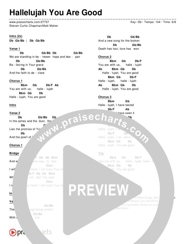 Hallelujah You Are Good Chords & Lyrics (Steven Curtis Chapman / Matt Maher)