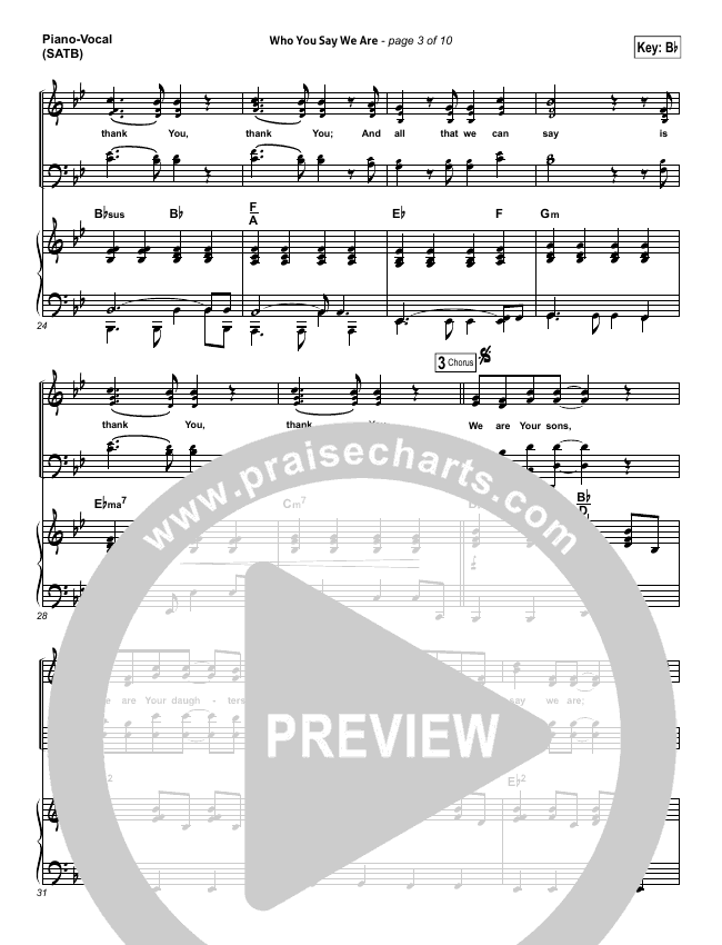 Who You Say We Are Piano/Vocal (SATB) (Steven Curtis Chapman)