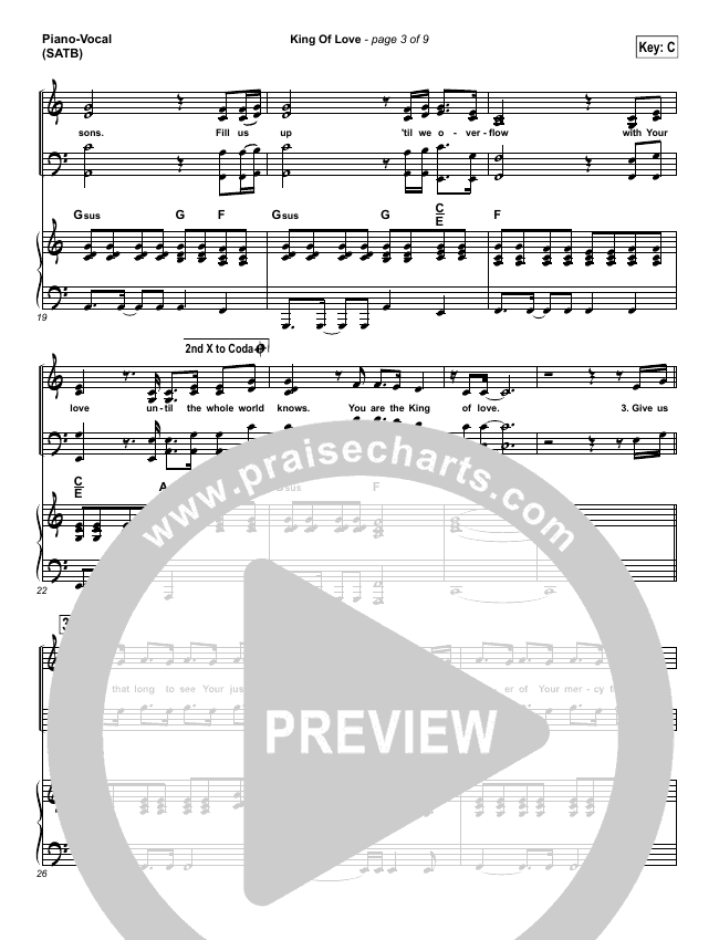 King Of Love Piano/Vocal (SATB) (Steven Curtis Chapman)