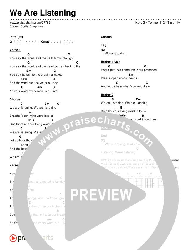 We Are Listening Chords - Steven Curtis Chapman | PraiseCharts
