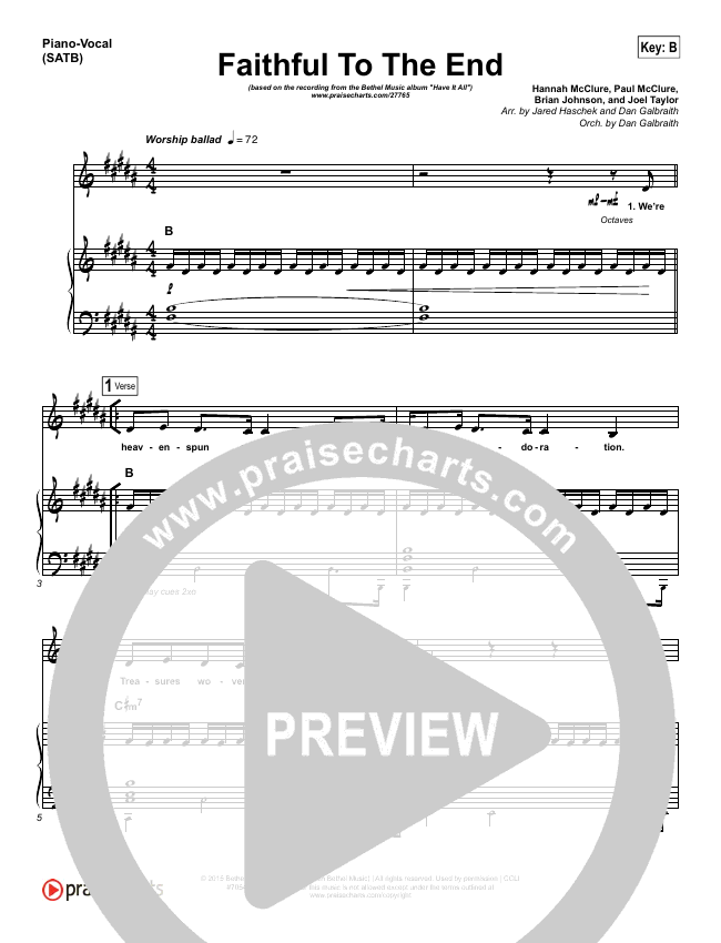 Faithful To The End Piano/Vocal (SATB) - Bethel Music