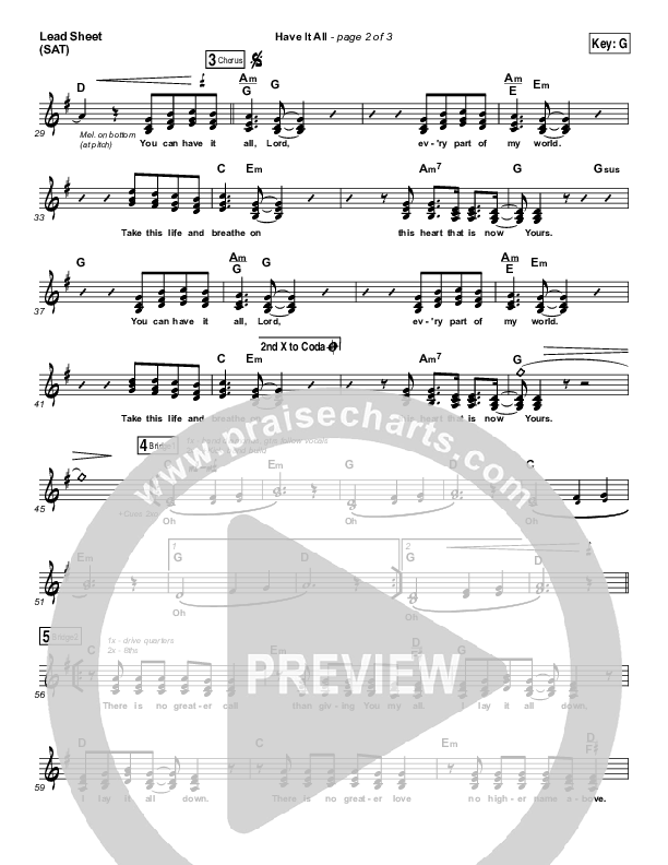Have It All Lead Sheet (SAT) (Bethel Music / Brian Johnson)