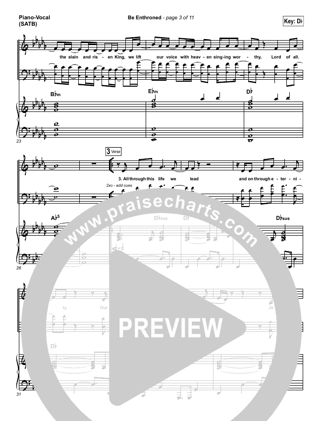 Be Enthroned Piano/Vocal (SATB) (Bethel Music / Jeremy Riddle)