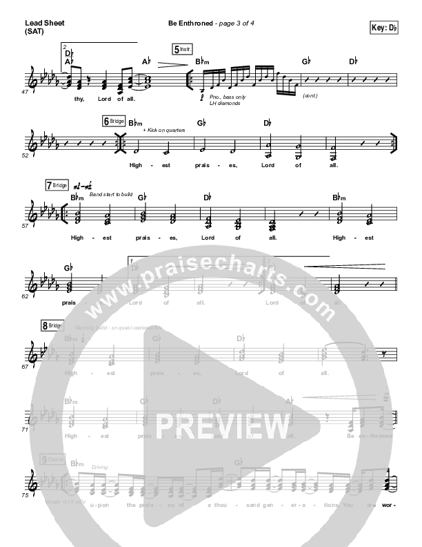 Be Enthroned Lead Sheet (SAT) (Bethel Music / Jeremy Riddle)