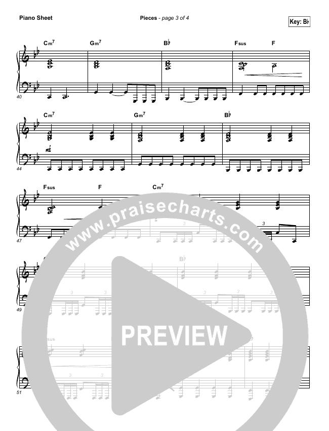 Pieces Piano Sheet (Bethel Music / Steffany Gretzinger)