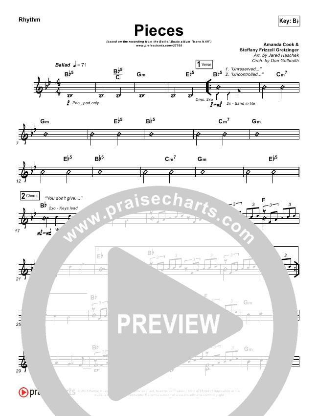 Pieces Rhythm Chart (Bethel Music / Steffany Gretzinger)