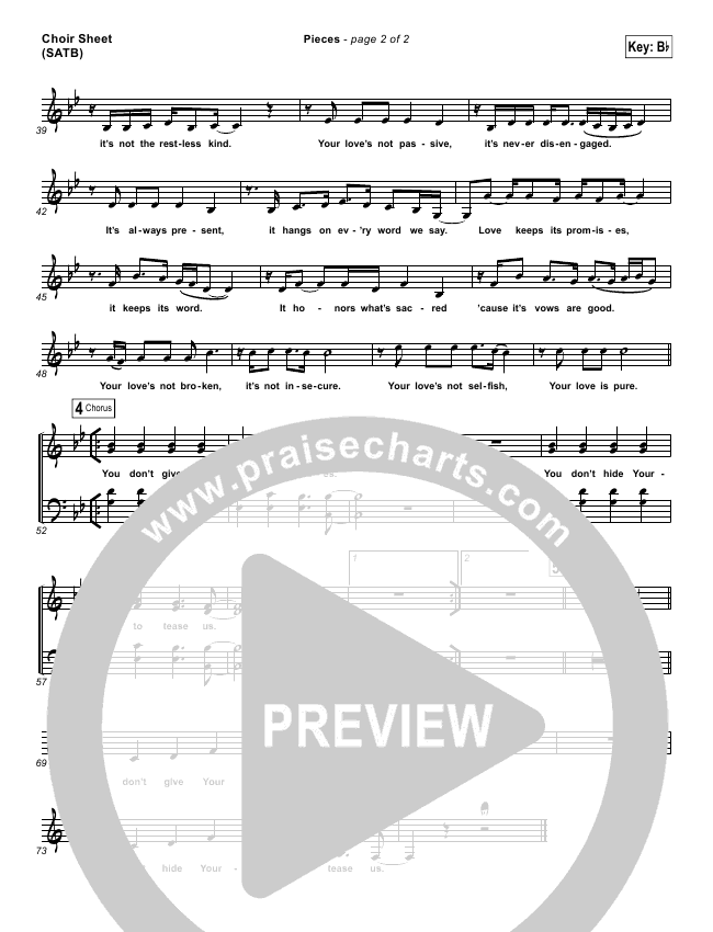 Pieces Choir Sheet (SATB) (Bethel Music / Steffany Gretzinger)