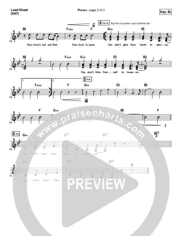 Pieces Lead Sheet (SAT) (Bethel Music / Steffany Gretzinger)