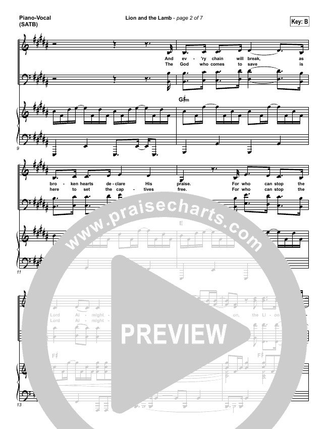 Lion And The Lamb Piano/Vocal (SATB) (Bethel Music / Leeland)