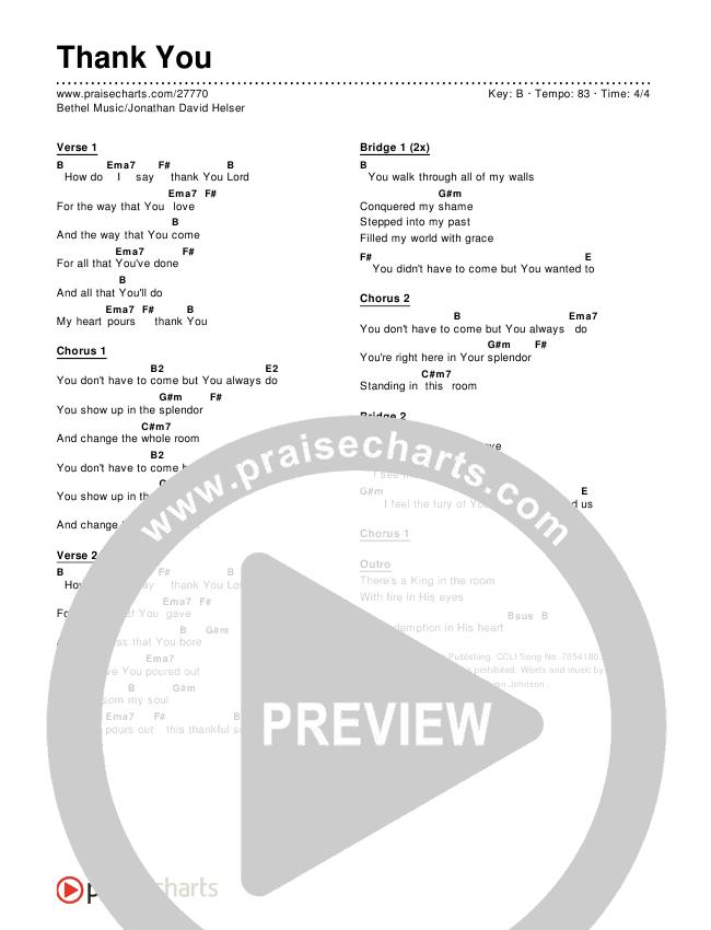 Thank You Chords & Lyrics (Bethel Music / Jonathan David Helser)