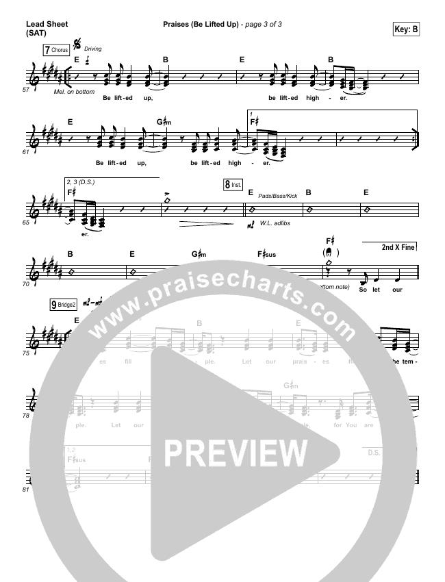 Praises (Be Lifted Up) Lead Sheet (SAT) (Bethel Music / Josh Baldwin)